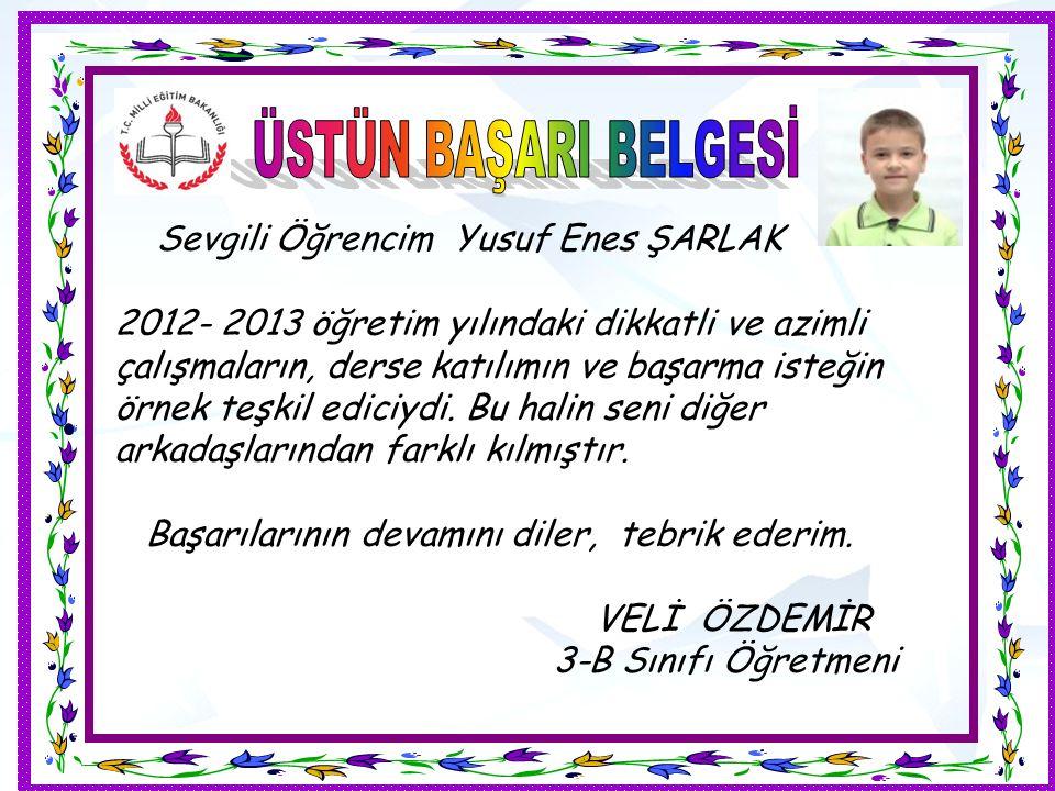 Sevgili Öğrencim Yusuf Enes ŞARLAK 2012- 2013 öğretim yılındaki dikkatli ve azimli çalışmaların, derse katılımın ve başarma isteğin örnek teşkil edici