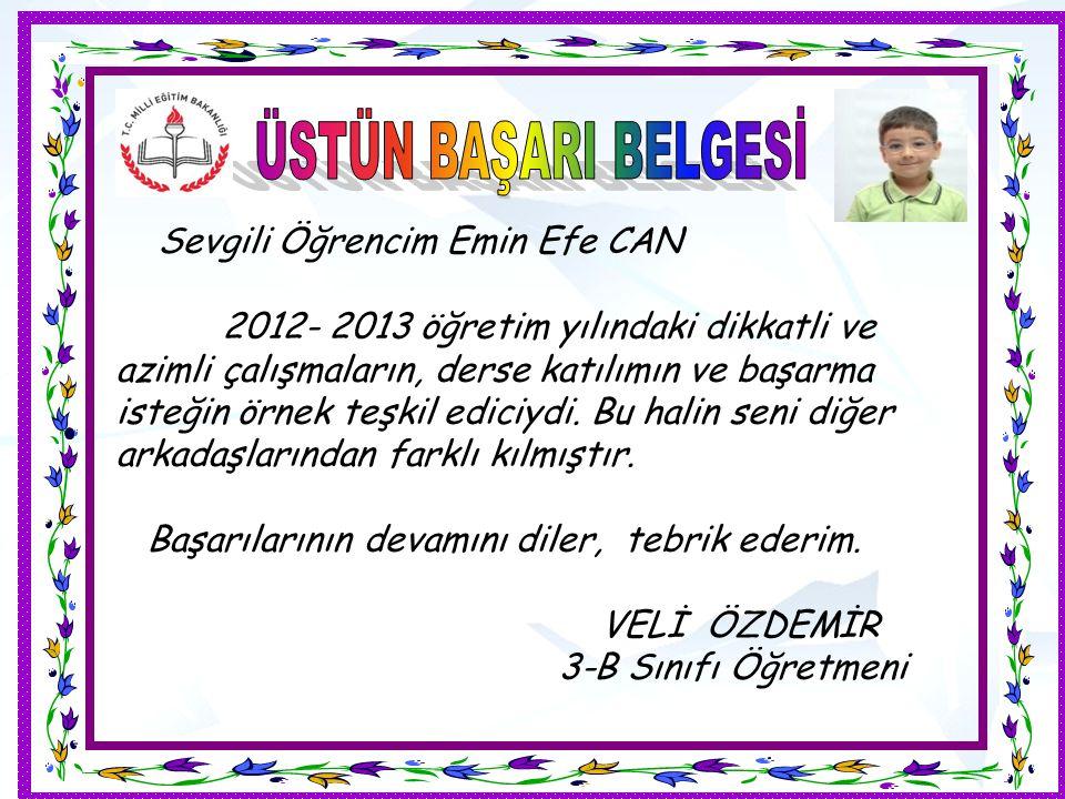 Sevgili Öğrencim Emin Efe CAN 2012- 2013 öğretim yılındaki dikkatli ve azimli çalışmaların, derse katılımın ve başarma isteğin örnek teşkil ediciydi.