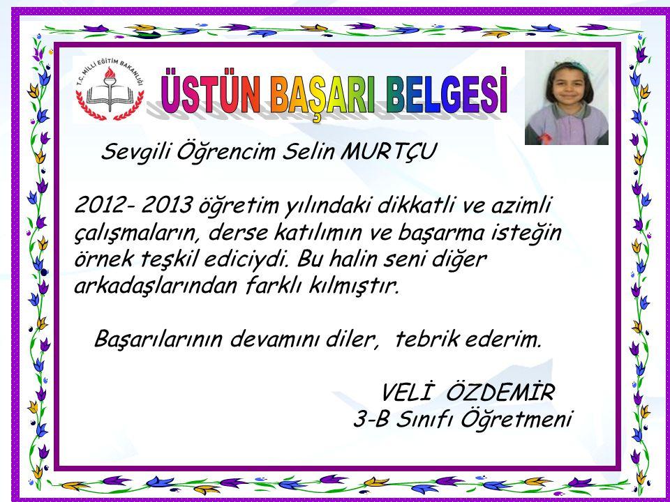Sevgili Öğrencim Selin MURTÇU 2012- 2013 öğretim yılındaki dikkatli ve azimli çalışmaların, derse katılımın ve başarma isteğin örnek teşkil ediciydi.