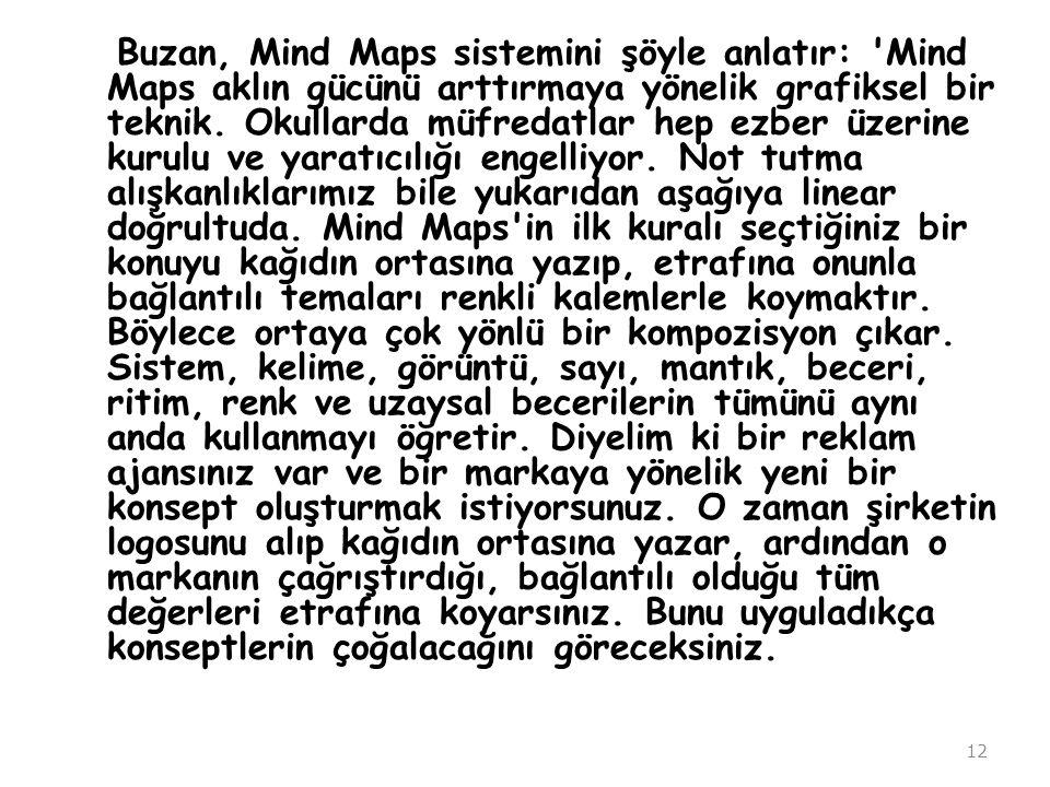 Buzan, Mind Maps sistemini şöyle anlatır: 'Mind Maps aklın gücünü arttırmaya yönelik grafiksel bir teknik. Okullarda müfredatlar hep ezber üzerine kur