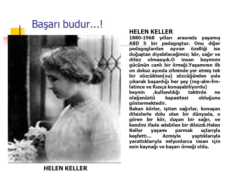 Başarı budur....HELEN KELLER 1880-1968 yılları arasında yaşamış ABD li bir pedagogtur.