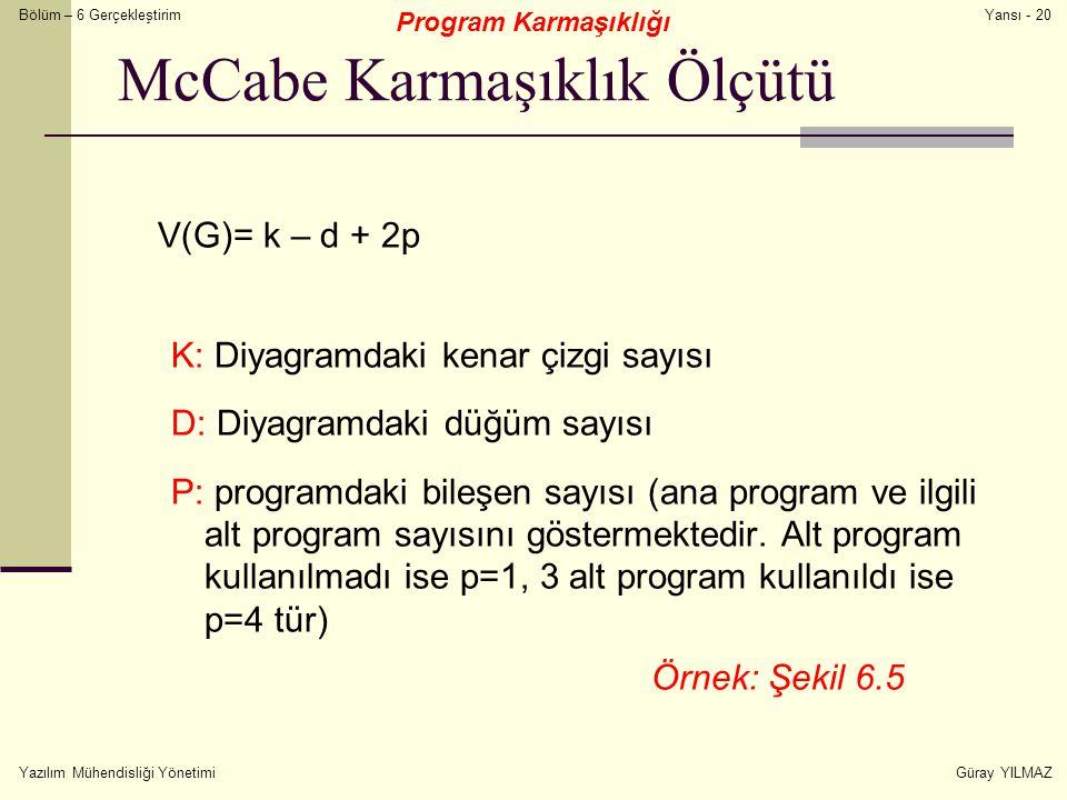 Bölüm – 6 Gerçekleştirim Yazılım Mühendisliği YönetimiGüray YILMAZ Yansı - 20 McCabe Karmaşıklık Ölçütü V(G)= k – d + 2p K: Diyagramdaki kenar çizgi s