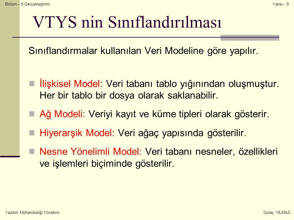 Bölüm – 6 Gerçekleştirim Yazılım Mühendisliği YönetimiGüray YILMAZ Yansı - 9 VTYS nin Sınıflandırılması Sınıflandırmalar kullanılan Veri Modeline göre