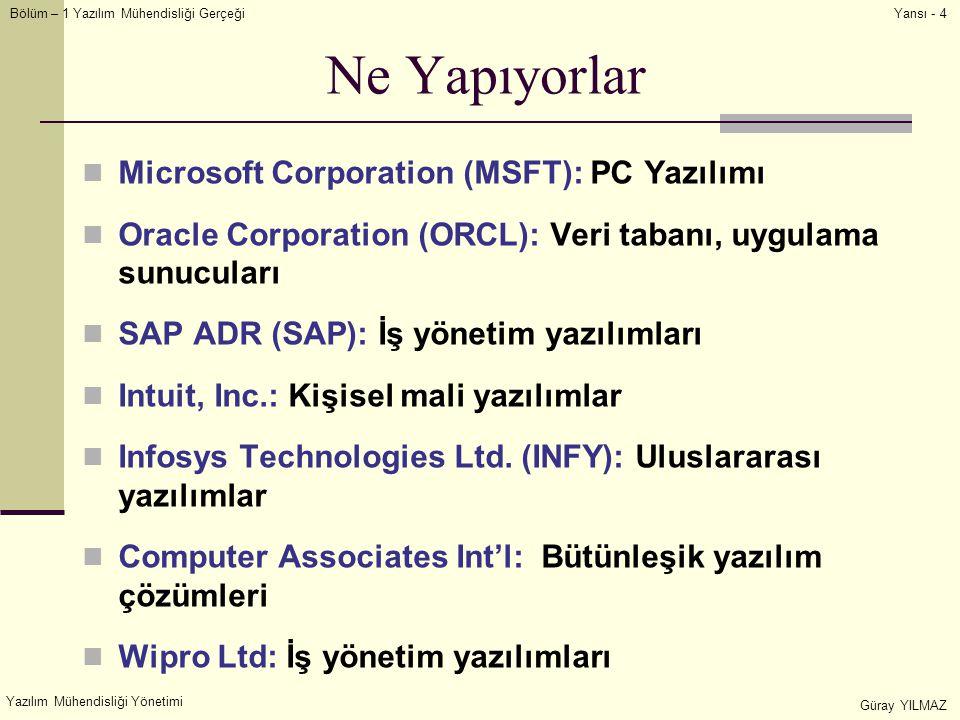 Bölüm – 1 Yazılım Mühendisliği Gerçeği Yazılım Mühendisliği Yönetimi Güray YILMAZ Yansı - 4 Ne Yapıyorlar Microsoft Corporation (MSFT): PC Yazılımı Oracle Corporation (ORCL): Veri tabanı, uygulama sunucuları SAP ADR (SAP): İş yönetim yazılımları Intuit, Inc.: Kişisel mali yazılımlar Infosys Technologies Ltd.