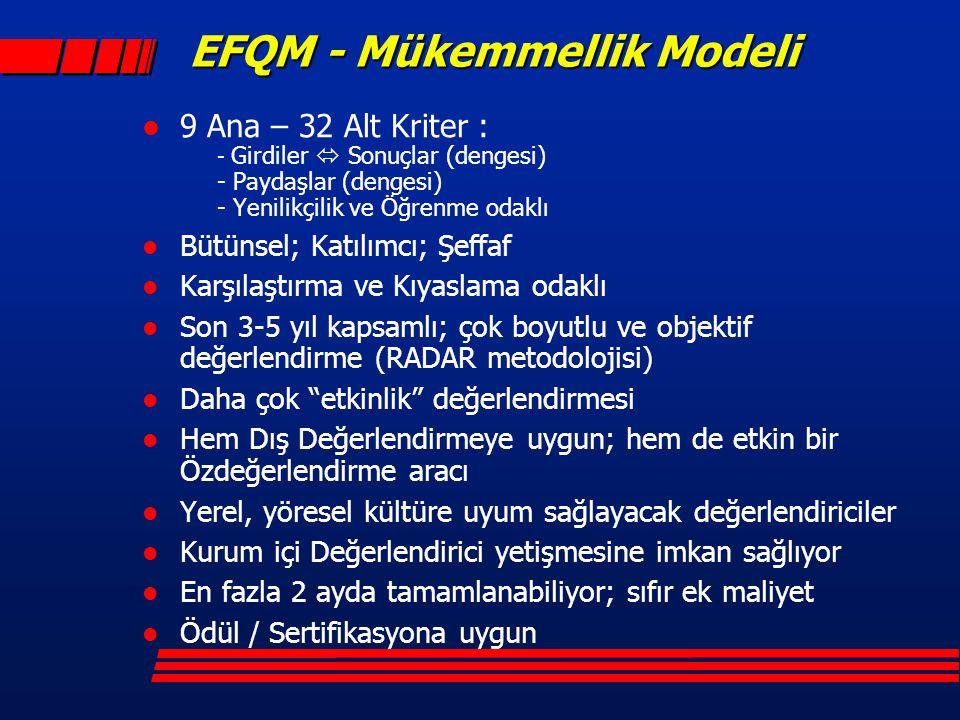 EFQM - Mükemmellik Modeli l 9 Ana – 32 Alt Kriter : - Girdiler  Sonuçlar (dengesi) - Paydaşlar (dengesi) - Yenilikçilik ve Öğrenme odaklı l Bütünsel;