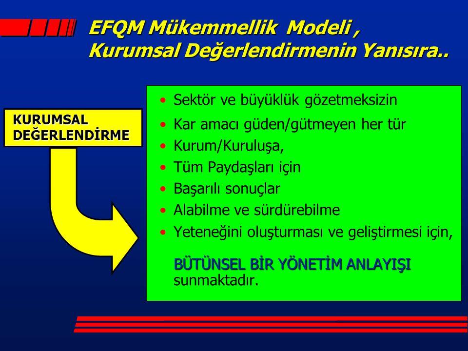 EFQM Mükemmellik Modeli, Kurumsal Değerlendirmenin Yanısıra.. Sektör ve büyüklük gözetmeksizin Kar amacı güden/gütmeyen her tür Kurum/Kuruluşa, Tüm Pa