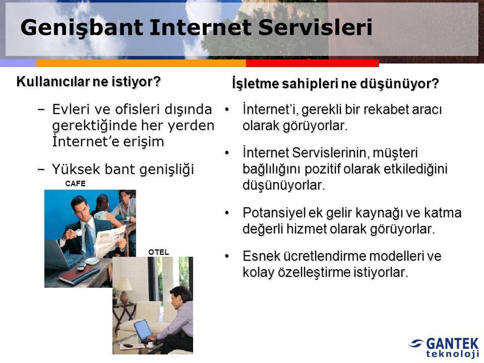 Kullanıcılar ne istiyor? –Evleri ve ofisleri dışında gerektiğinde her yerden İnternet'e erişim –Yüksek bant genişliği İnternet'i, gerekli bir rekabet