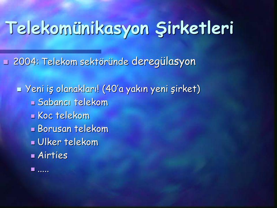 Telekom pazarı büyük, iletişim herkese lazım: Telekom pazarı büyük, iletişim herkese lazım: Türk Telekom'un cirosu Sabancı ve Koç'a göre daha fazla Türk Telekom'un cirosu Sabancı ve Koç'a göre daha fazla Türkcell: $3.5 milyar pazar değeri ile Türkiye'de en değerli şirket, $2 milyar cirosu var Türkcell: $3.5 milyar pazar değeri ile Türkiye'de en değerli şirket, $2 milyar cirosu var Telekomünikasyon Şirketleri