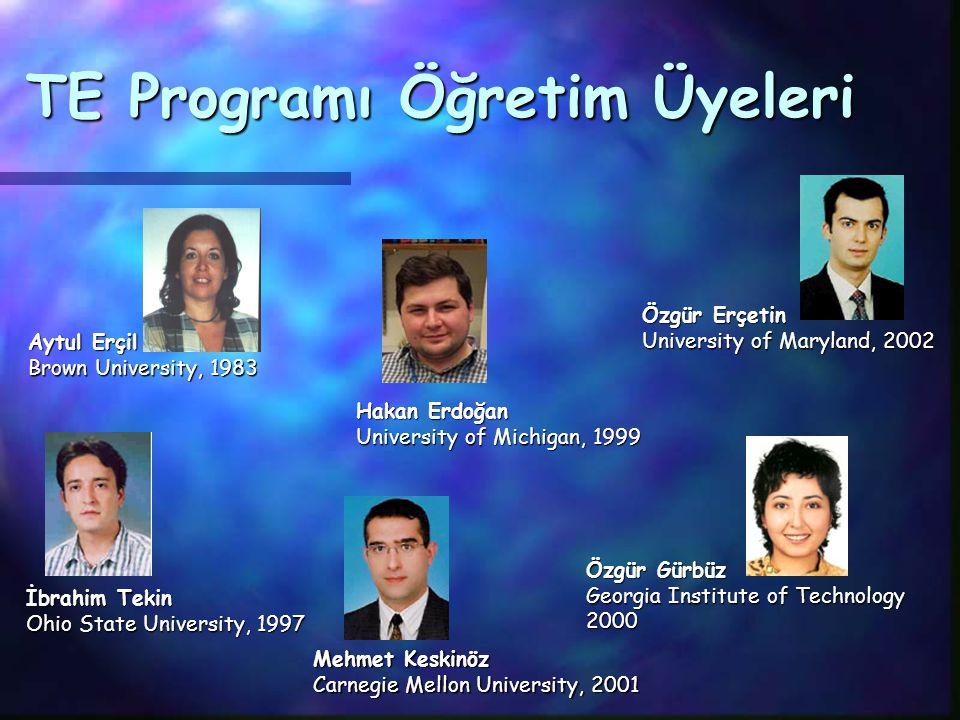 Sabancı Üniversitesi'nde TE Mühendisliği Ulusal ve uluslararası araştırma Ulusal ve uluslararası araştırma projelerinde yer alma şansı 2002-2003 yılın