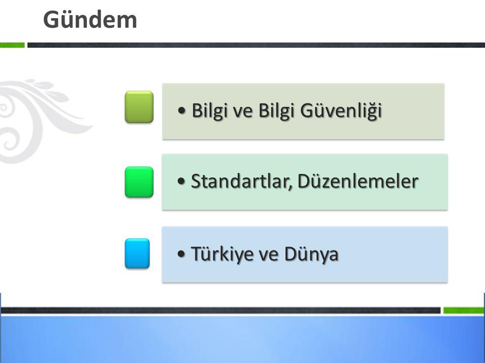 Gündem Bilgi ve Bilgi GüvenliğiBilgi ve Bilgi Güvenliği Standartlar, DüzenlemelerStandartlar, Düzenlemeler Türkiye ve DünyaTürkiye ve Dünya