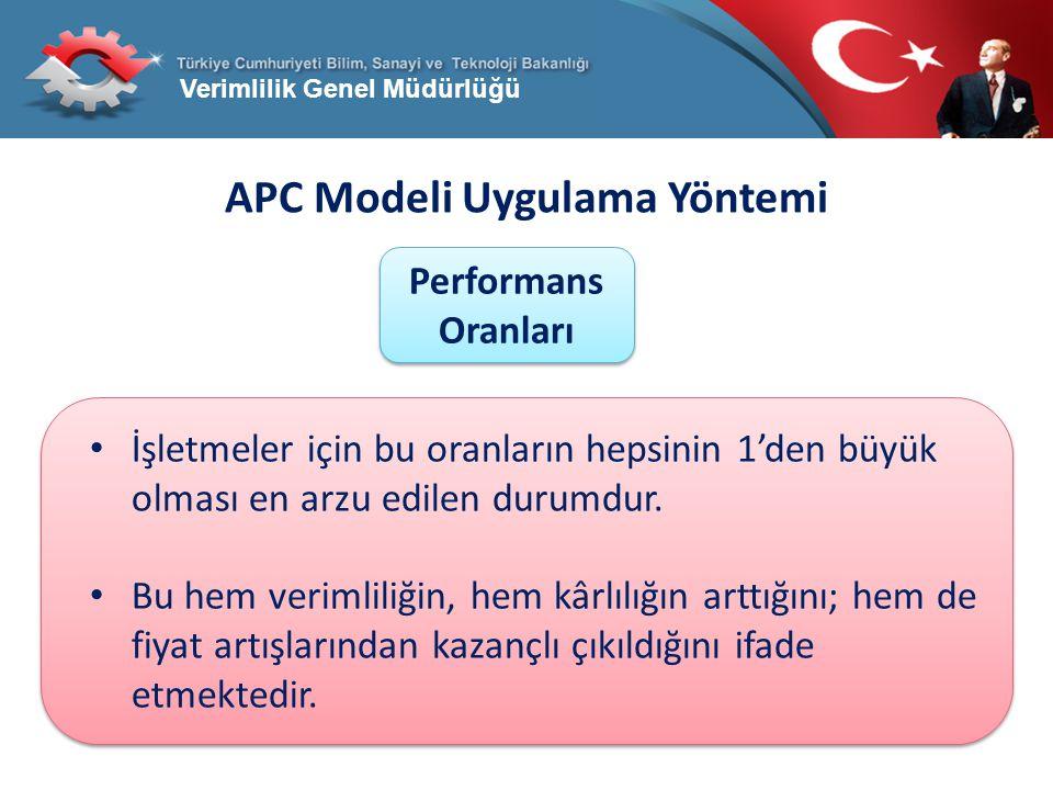 Verimlilik Genel Müdürlüğü APC Modeli Uygulama Yöntemi Performans Oranları İşletmeler için bu oranların hepsinin 1'den büyük olması en arzu edilen dur