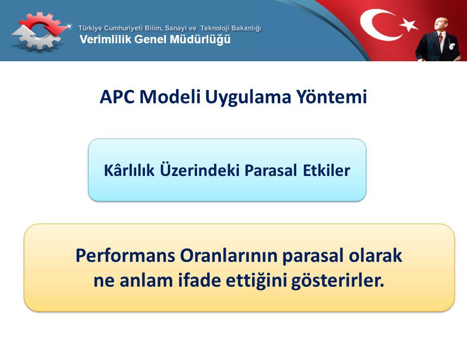Verimlilik Genel Müdürlüğü APC Modeli Uygulama Yöntemi Kârlılık Üzerindeki Parasal Etkiler Performans Oranlarının parasal olarak ne anlam ifade ettiği