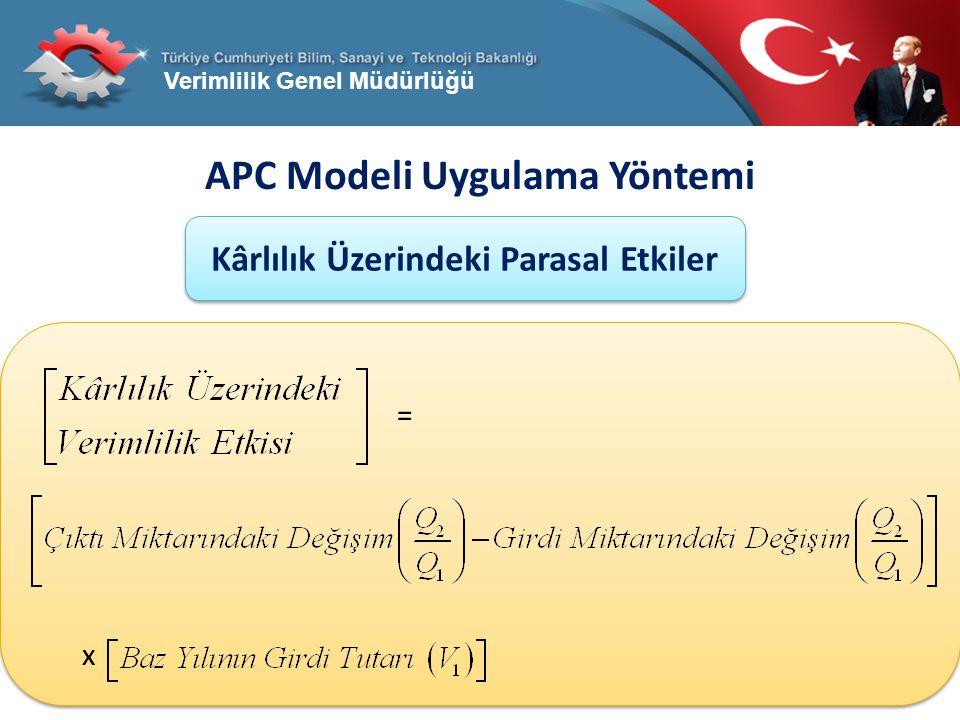 Verimlilik Genel Müdürlüğü APC Modeli Uygulama Yöntemi Kârlılık Üzerindeki Parasal Etkiler = x