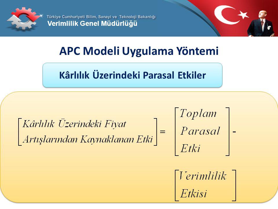 Verimlilik Genel Müdürlüğü APC Modeli Uygulama Yöntemi Kârlılık Üzerindeki Parasal Etkiler