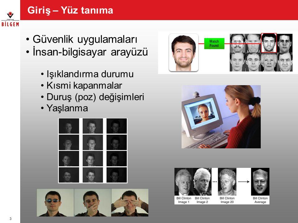 Güvenlik uygulamaları İnsan-bilgisayar arayüzü Işıklandırma durumu Kısmi kapanmalar Duruş (poz) değişimleri Yaşlanma Giriş – Yüz tanıma 3