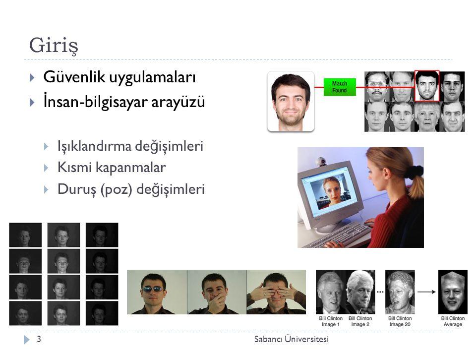 Giriş  Güvenlik uygulamaları  İ nsan-bilgisayar arayüzü  Işıklandırma de ğ işimleri  Kısmi kapanmalar  Duruş (poz) de ğ işimleri 3Sabancı Üniversitesi