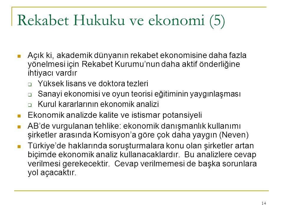 14 Rekabet Hukuku ve ekonomi (5) Açık ki, akademik dünyanın rekabet ekonomisine daha fazla yönelmesi için Rekabet Kurumu'nun daha aktif önderliğine ihtiyacı vardır  Yüksek lisans ve doktora tezleri  Sanayi ekonomisi ve oyun teorisi eğitiminin yaygınlaşması  Kurul kararlarının ekonomik analizi Ekonomik analizde kalite ve istismar potansiyeli AB'de vurgulanan tehlike: ekonomik danışmanlık kullanımı şirketler arasında Komisyon'a göre çok daha yaygın (Neven) Türkiye'de haklarında soruşturmalara konu olan şirketler artan biçimde ekonomik analiz kullanacaklardır.
