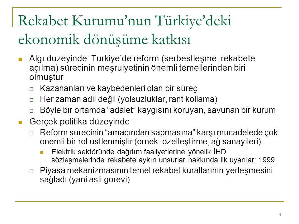 4 Rekabet Kurumu'nun Türkiye'deki ekonomik dönüşüme katkısı Algı düzeyinde: Türkiye'de reform (serbestleşme, rekabete açılma) sürecinin meşruiyetinin önemli temellerinden biri olmuştur  Kazananları ve kaybedenleri olan bir süreç  Her zaman adil değil (yolsuzluklar, rant kollama)  Böyle bir ortamda adalet kaygısını koruyan, savunan bir kurum Gerçek politika düzeyinde  Reform sürecinin amacından sapmasına karşı mücadelede çok önemli bir rol üstlenmiştir (örnek: özelleştirme, ağ sanayileri) Elektrik sektöründe dağıtım faaliyetlerine yönelik İHD sözleşmelerinde rekabete aykırı unsurlar hakkında ilk uyarılar: 1999  Piyasa mekanizmasının temel rekabet kurallarının yerleşmesini sağladı (yani asli görevi)
