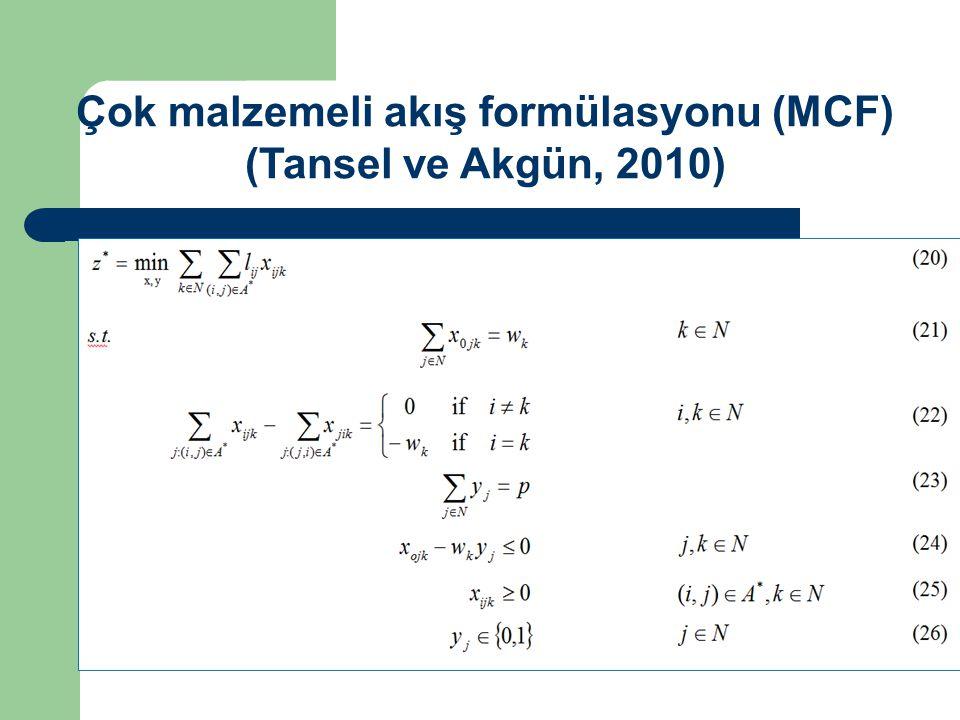 Çok malzemeli akış formülasyonu (MCF) (Tansel ve Akgün, 2010)