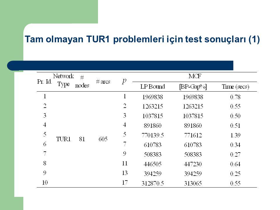 Tam olmayan TUR1 problemleri için test sonuçları (1)