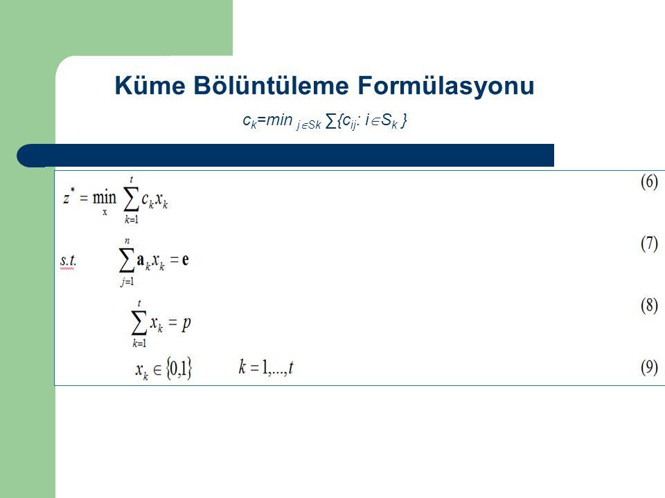 Küme Bölüntüleme Formülasyonu c k =min j  Sk ∑{c ij : i  S k }