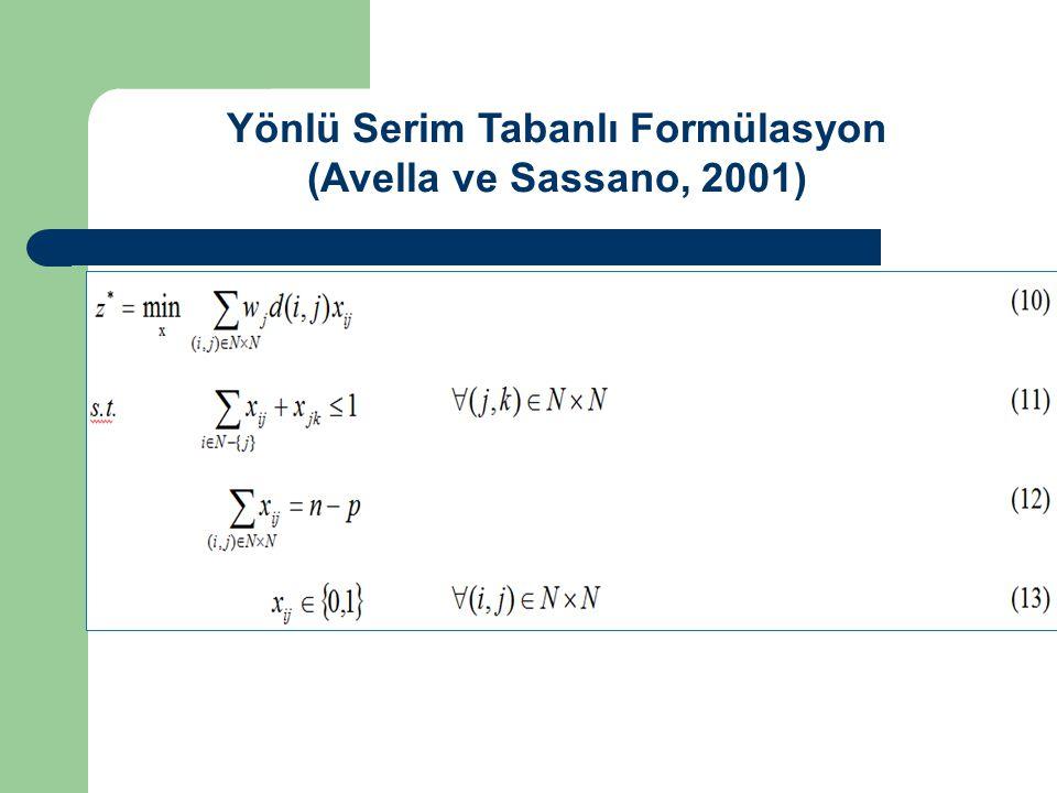 Yönlü Serim Tabanlı Formülasyon (Avella ve Sassano, 2001)