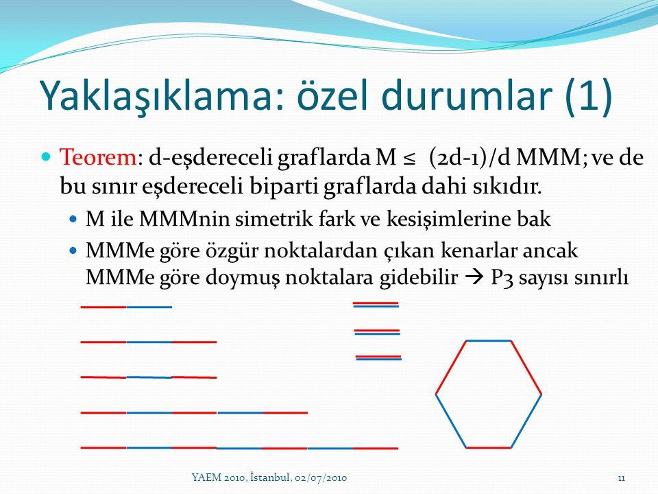 Yaklaşıklama: özel durumlar (1) Teorem: d-eşdereceli graflarda M ≤ (2d-1)/d MMM; ve de bu sınır eşdereceli biparti graflarda dahi sıkıdır. M ile MMMni