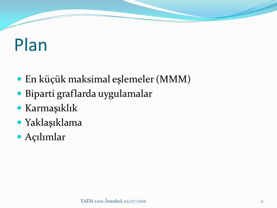 Plan 2YAEM 2010, İstanbul, 02/07/2010 En küçük maksimal eşlemeler (MMM) Biparti graflarda uygulamalar Karmaşıklık Yaklaşıklama Açılımlar