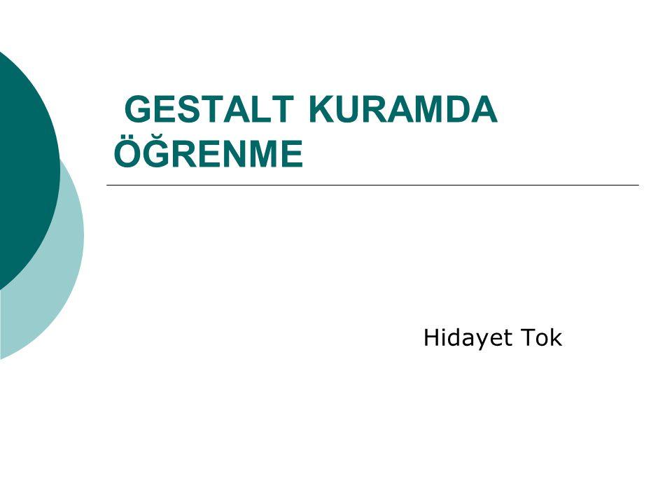  Gestalt kuramcıları : Wertheimer, Koffka ve Köhler  Davranışçı yaklaşıma tepki olarak ortaya çıkmış,  Bilişsel-alan kuramcıları