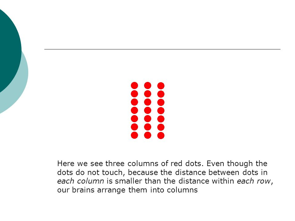 Here we see three columns of red dots. Even though the dots do not touch, because the distance between dots in each column is smaller than the distanc