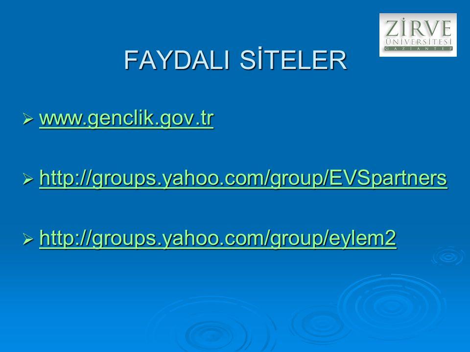 FAYDALI SİTELER  www.genclik.gov.tr www.genclik.gov.tr  http://groups.yahoo.com/group/EVSpartners http://groups.yahoo.com/group/EVSpartners  http://groups.yahoo.com/group/eylem2 http://groups.yahoo.com/group/eylem2