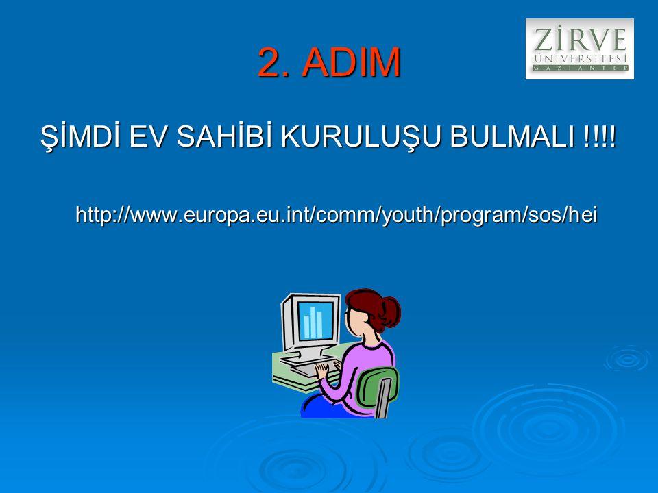 2. ADIM ŞİMDİ EV SAHİBİ KURULUŞU BULMALI !!!! http://www.europa.eu.int/comm/youth/program/sos/hei