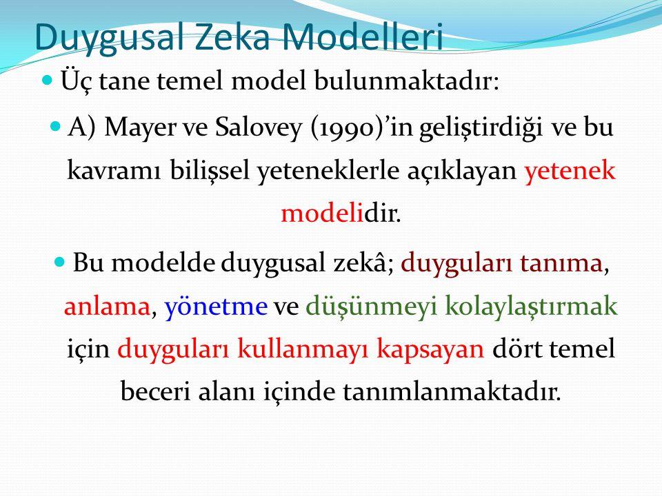 Duygusal Zeka Modelleri Üç tane temel model bulunmaktadır: A) Mayer ve Salovey (1990)'in geliştirdiği ve bu kavramı bilişsel yeteneklerle açıklayan ye