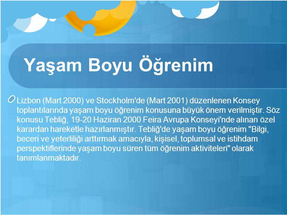 Yaşam Boyu Öğrenim Lizbon (Mart 2000) ve Stockholm de (Mart 2001) düzenlenen Konsey toplantılarında yaşam boyu öğrenim konusuna büyük önem verilmiştir.