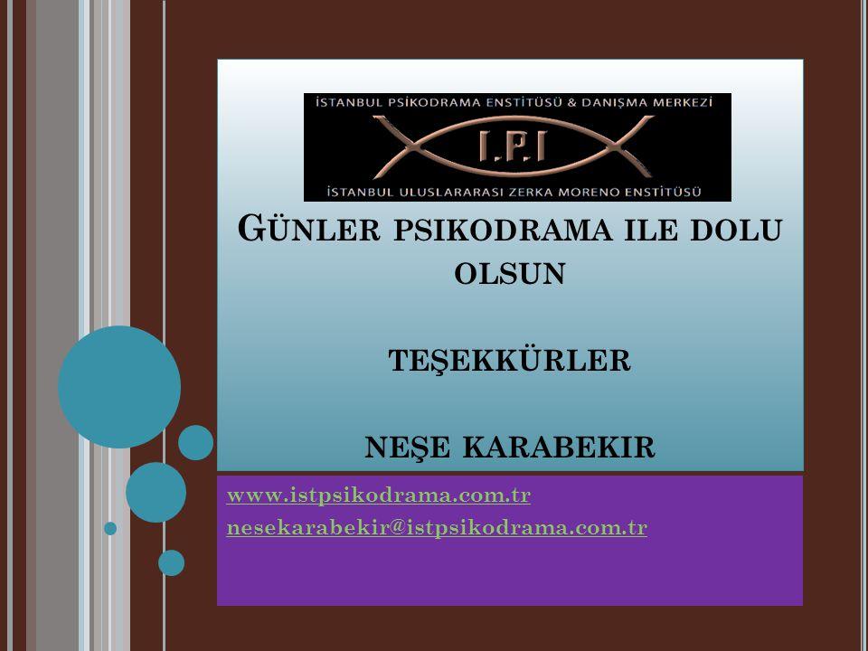 G ÜNLER PSIKODRAMA ILE DOLU OLSUN TEŞEKKÜRLER NEŞE KARABEKIR www.istpsikodrama.com.tr nesekarabekir@istpsikodrama.com.tr