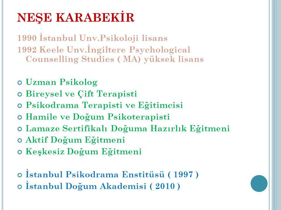 NEŞE KARABEKİR 1990 İstanbul Unv.Psikoloji lisans 1992 Keele Unv.İngiltere Psychological Counselling Studies ( MA) yüksek lisans Uzman Psikolog Bireysel ve Çift Terapisti Psikodrama Terapisti ve Eğitimcisi Hamile ve Doğum Psikoterapisti Lamaze Sertifikalı Doğuma Hazırlık Eğitmeni Aktif Doğum Eğitmeni Keşkesiz Doğum Eğitmeni İstanbul Psikodrama Enstitüsü ( 1997 ) İstanbul Doğum Akademisi ( 2010 )