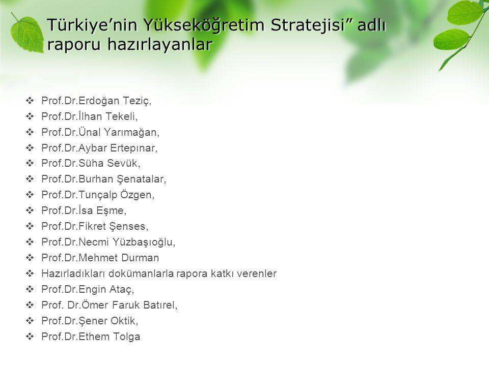 """Türkiye'nin Yükseköğretim Stratejisi"""" adlı raporu hazırlayanlar  Prof.Dr.Erdoğan Teziç,  Prof.Dr.İlhan Tekeli,  Prof.Dr.Ünal Yarımağan,  Prof.Dr.A"""