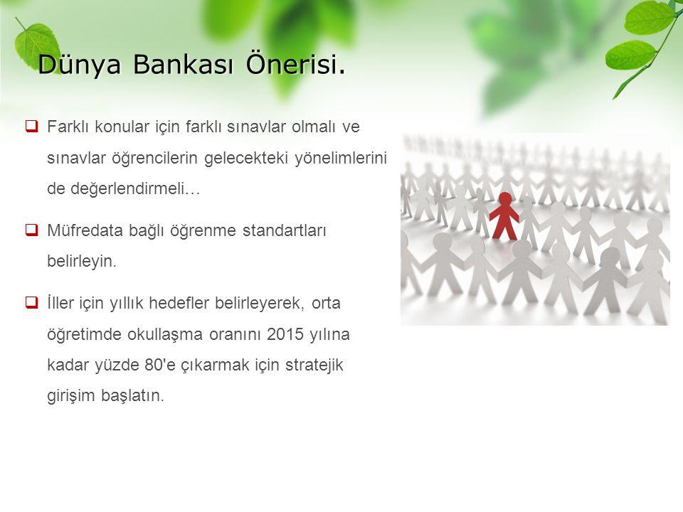 Dünya Bankası Önerisi.  Farklı konular için farklı sınavlar olmalı ve sınavlar öğrencilerin gelecekteki yönelimlerini de değerlendirmeli…  Müfredata