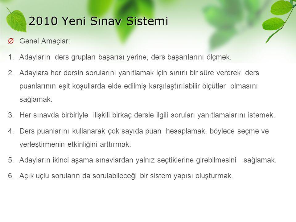 2010 Yeni Sınav Sistemi Ø Genel Amaçlar: 1. Adayların ders grupları başarısı yerine, ders başarılarını ölçmek. 2. Adaylara her dersin sorularını yanıt