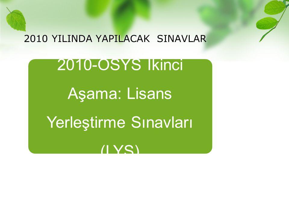 2010 YILINDA YAPILACAK SINAVLAR 2010-ÖSYS İkinci Aşama: Lisans Yerleştirme Sınavları (LYS)