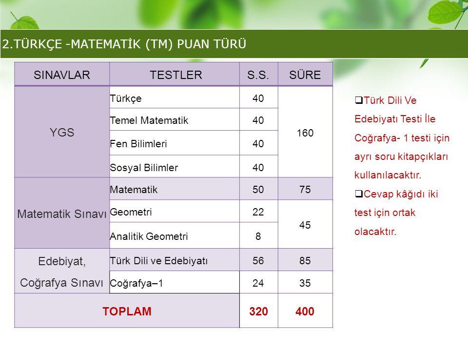 2.TÜRKÇE -MATEMATİK (TM) PUAN TÜRÜ SINAVLAR TESTLERS.S.SÜRE YGS Türkçe40 160 Temel Matematik40 Fen Bilimleri40 Sosyal Bilimler40 Matematik Sınavı Mate