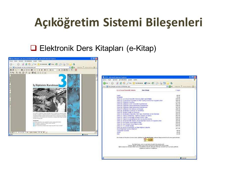 Açıköğretim Sistemi Bileşenleri  Elektronik Ders Kitapları (e-Kitap)