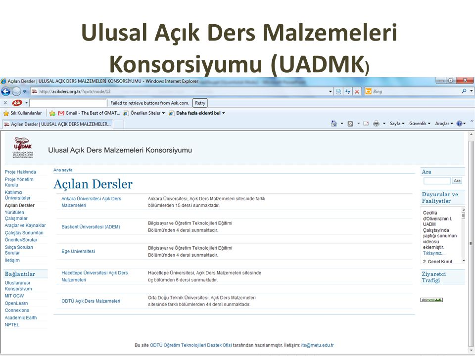 Ulusal Açık Ders Malzemeleri Konsorsiyumu (UADMK )