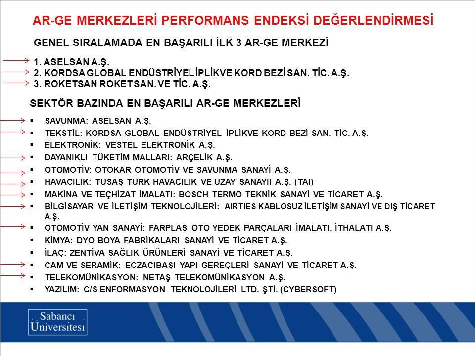 GENEL SIRALAMADA EN BAŞARILI İLK 3 AR-GE MERKEZİ 1.