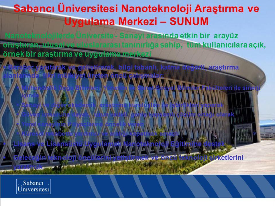 Sabancı Üniversitesi Nanoteknoloji Araştırma ve Uygulama Merkezi – SUNUM Nanoteknolojilerde Üniversite - Sanayi arasında etkin bir arayüz oluşturan, ulusal ve uluslararası tanınırlığa sahip, tüm kullanıcılara açık, örnek bir araştırma ve uygulama merkezi  Beraber yaratarak ve geliştirerek, bilgi tabanlı, katma değerli, araştırma alanlarında fikri mülkiyet üreten öncü çalışmalar:  Mühendislik Doğa Bilimleri, Yönetim ve Sanat-Sosyal Bilimler Fakülteleri ile sinerji içinde  Sanayi ve diğer akademik araştırma kuruluşları ile işbirlikleri yaparak  Güven unsuruna dayalı, uzun vadeli, geniş kapsamlı çözüm ortağı olarak  Yerel sanayinin ihtiyaçlarına öncelik veren  Küresel rekabette yardımcı ve aralığı kapatmak amaçlı  Lisans ve Lisansüstü Uygulamalı Nanoteknoloji Eğitimine destek  Geleceğin teknoloji öncülerini yetiştirmek ve öncü teknoloji şirketlerini yaratmak