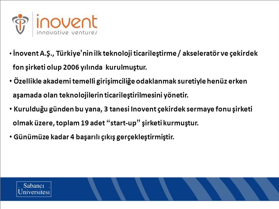 İnovent A.Ş., Türkiye'nin ilk teknoloji ticarileştirme / akseleratör ve çekirdek fon şirketi olup 2006 yılında kurulmuştur. Özellikle akademi temelli