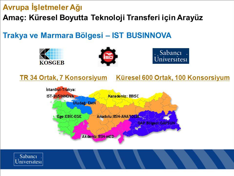 Avrupa İşletmeler Ağı Amaç: Küresel Boyutta Teknoloji Transferi için Arayüz TR 34 Ortak, 7 KonsorsiyumKüresel 600 Ortak, 100 Konsorsiyum Trakya ve Mar