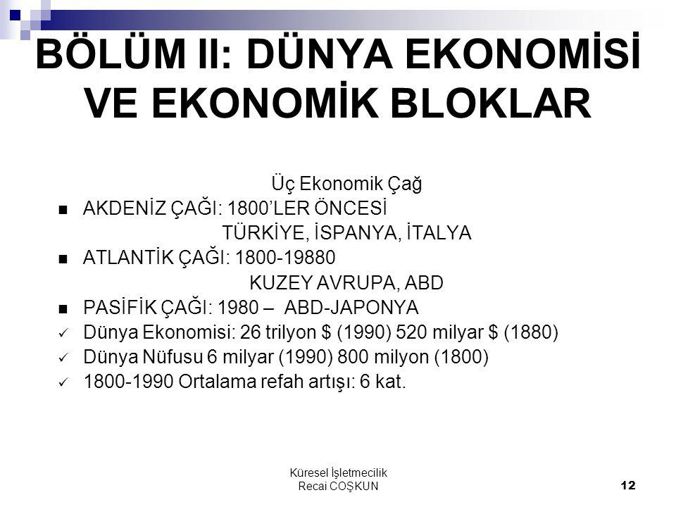 Küresel İşletmecilik Recai COŞKUN12 BÖLÜM II: DÜNYA EKONOMİSİ VE EKONOMİK BLOKLAR Üç Ekonomik Çağ AKDENİZ ÇAĞI: 1800'LER ÖNCESİ TÜRKİYE, İSPANYA, İTAL