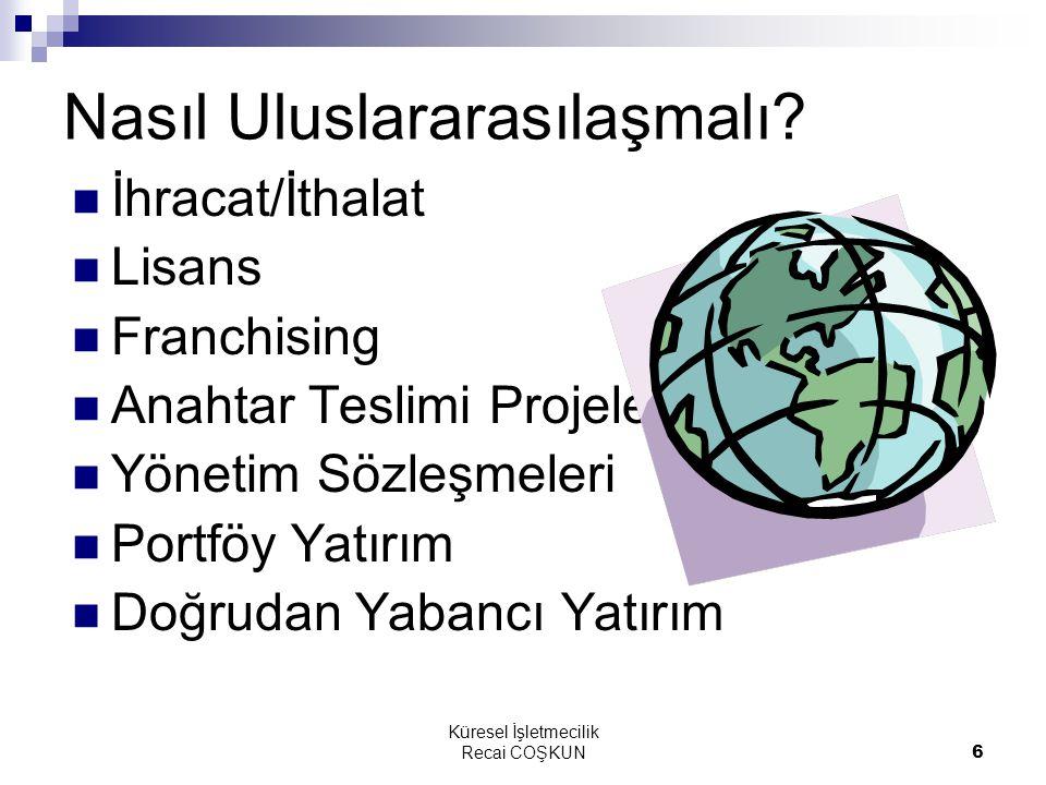 Küresel İşletmecilik Recai COŞKUN6 Nasıl Uluslararasılaşmalı? İhracat/İthalat Lisans Franchising Anahtar Teslimi Projeler Yönetim Sözleşmeleri Portföy