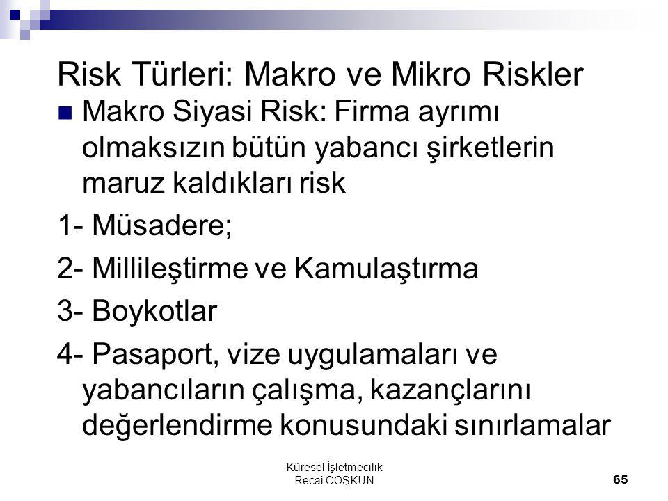 Küresel İşletmecilik Recai COŞKUN65 Risk Türleri: Makro ve Mikro Riskler Makro Siyasi Risk: Firma ayrımı olmaksızın bütün yabancı şirketlerin maruz kaldıkları risk 1- Müsadere; 2- Millileştirme ve Kamulaştırma 3- Boykotlar 4- Pasaport, vize uygulamaları ve yabancıların çalışma, kazançlarını değerlendirme konusundaki sınırlamalar